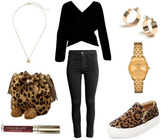 How to style a fur bag for class: Class to night out with fur bag, gold watch, gold earrings, black top, black denim jeans, gold pendant necklace, leopard print slide on sneakers, and brown lipstick.