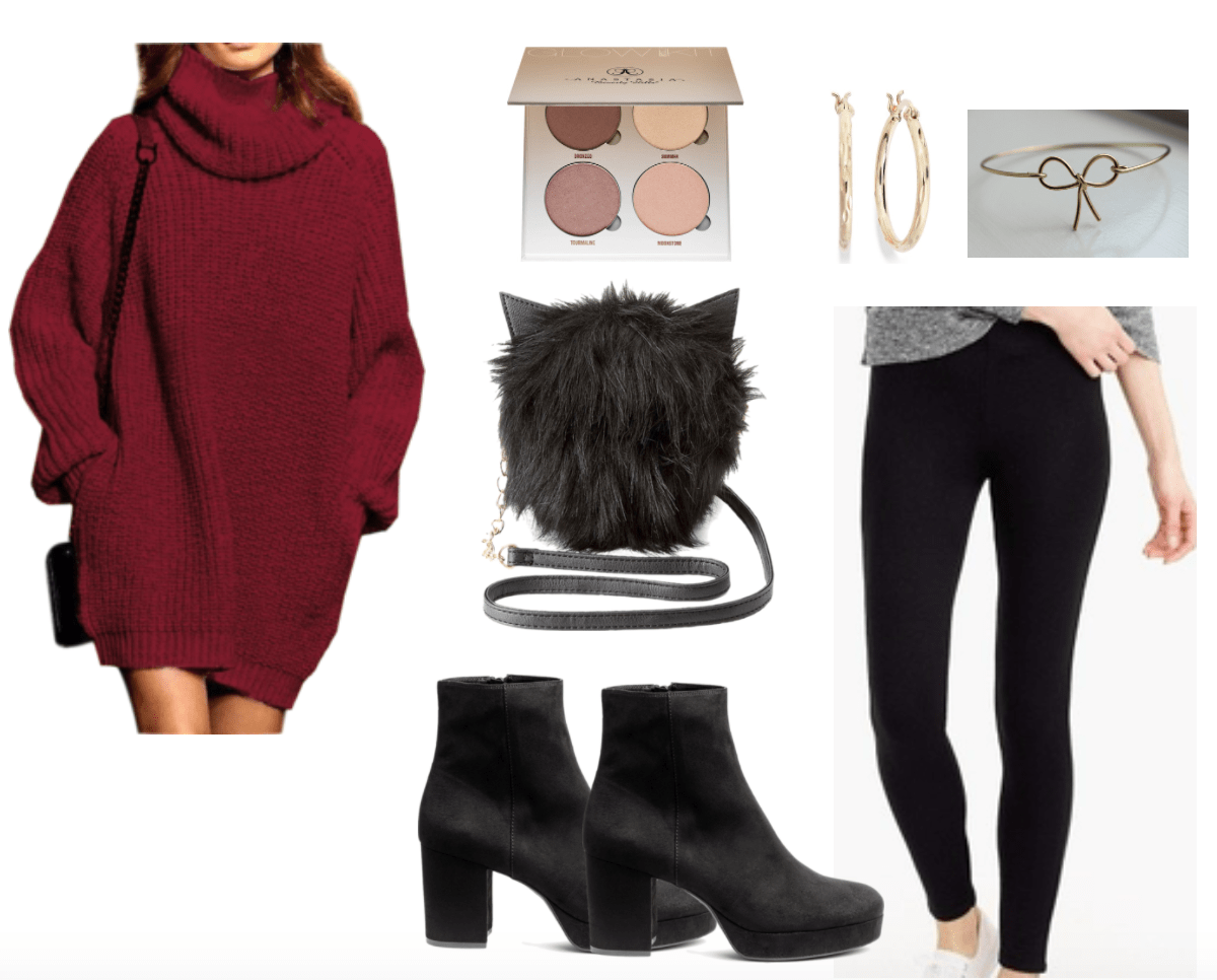Eccentric cat shaped fur bag with sweater and leggings outfit.