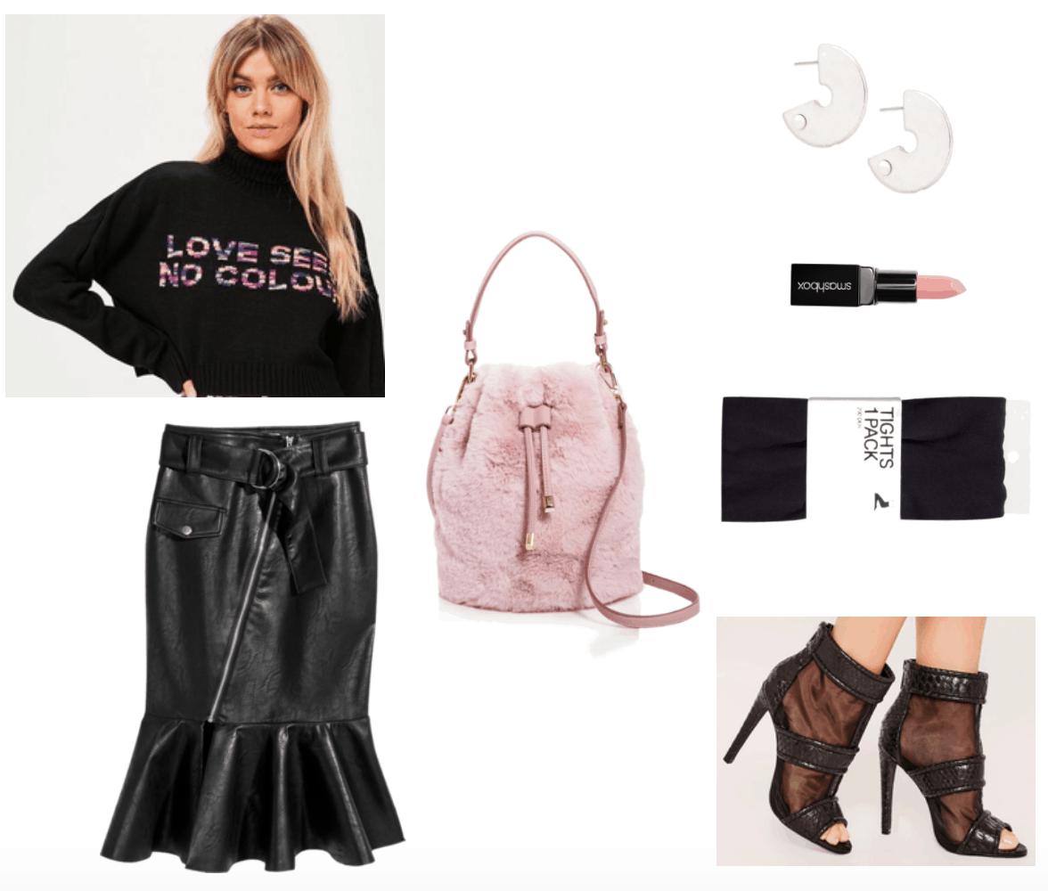 Fur bag centered outfit including pale pink fur handbag.
