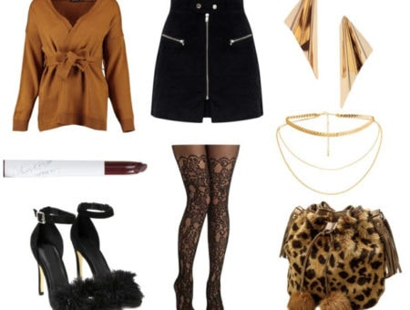 Class to night out fur bag with black mini skirt, gold earrings, gold necklace, tan shirt, black heels, brown lipstick, and black tights.
