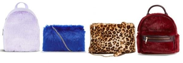lilac fur bag, red fur bag, leopard fur bag, and blue fur bag.