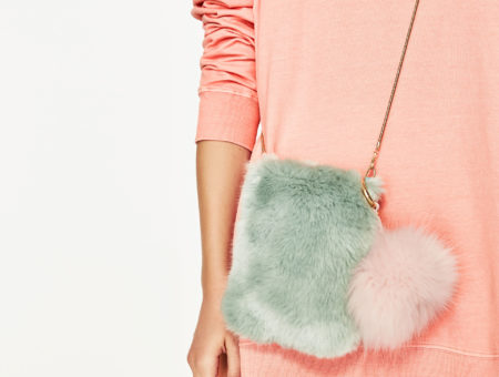 Seafoam and light pink color combo - furry bag from Zara