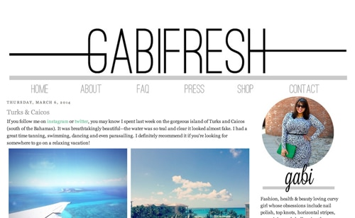 Gabifresh homepage