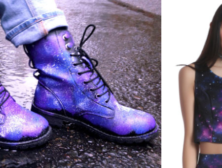 Purple and blue moon combat boots and a cropped tank top with cosmic print from Hot Topic