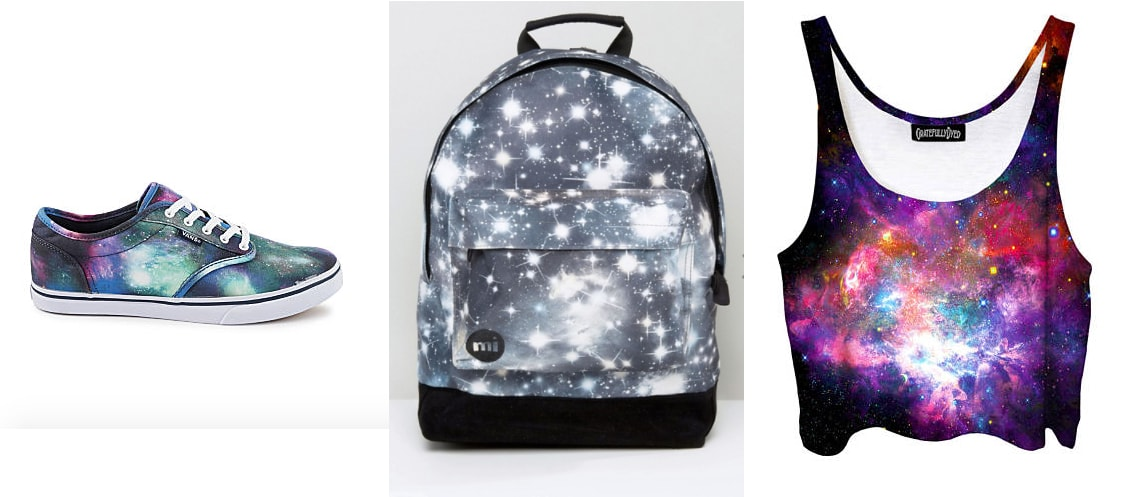 Galaxy print items for sale: cosmic print Vans shoes from Rack Room Shoes, ASOS starry night print backpack, and a galaxy print crop top tank from Etsy.