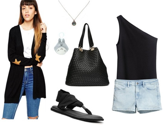 Fashion inspired by Gallant's Ology: Shorts, one-shoulder top, cardigan, sandals, tote