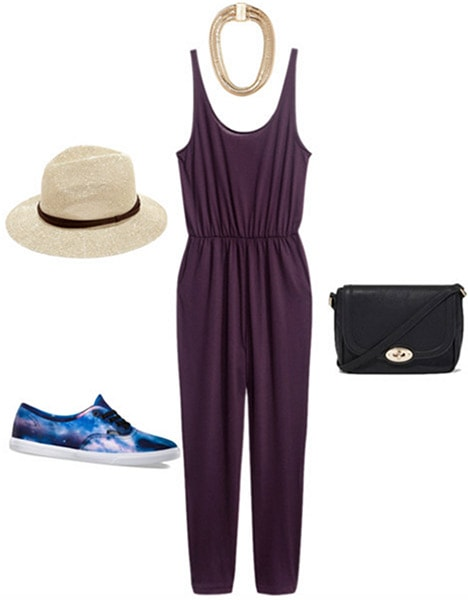 Fashion inspired by Gallant's Ology: Jumpsuit, fedora, galaxy print sneakers, cross body bag