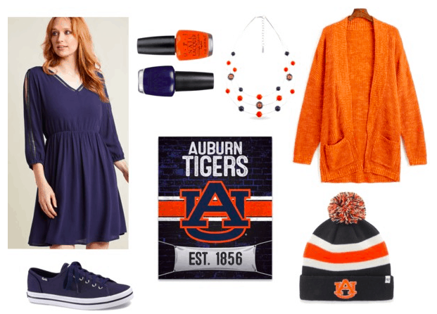Outfit for college game day date: Navy dress and sneakers, orange cardigan, orange and navy Auburn Tigers pom-pom hat, nail polishes, layered necklace and poster