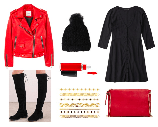 Game day outfit idea for college: Red moto jacket, black beanie, black dress, over-the-knee boots, red cross body, red lipstick, flash tattoos