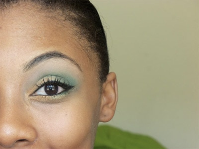 College Game Day / School Spirit makeup look 1 - Green and gold eyeshadow