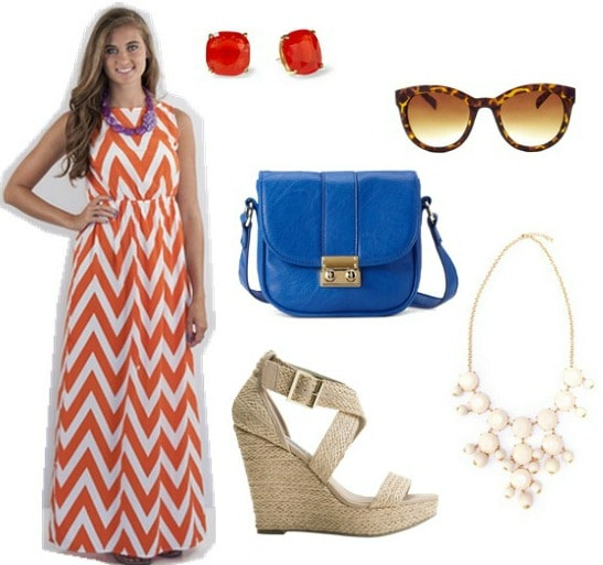 Game day outfit chevron maxi dress wedges sunglasses