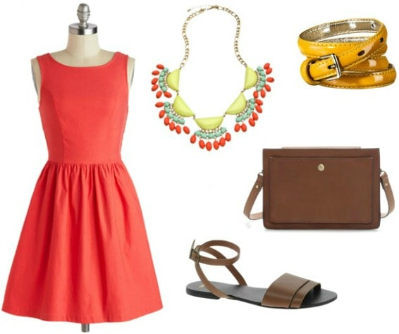 Game day outfit fit and flare dress statement necklace sandals