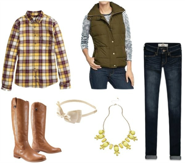 Game day outfit jeans, plaid shirt, vest, riding boots