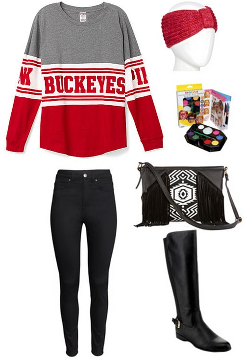 Gameday outfit 1 - Sweatshirt, skinny jeans, bag, boots
