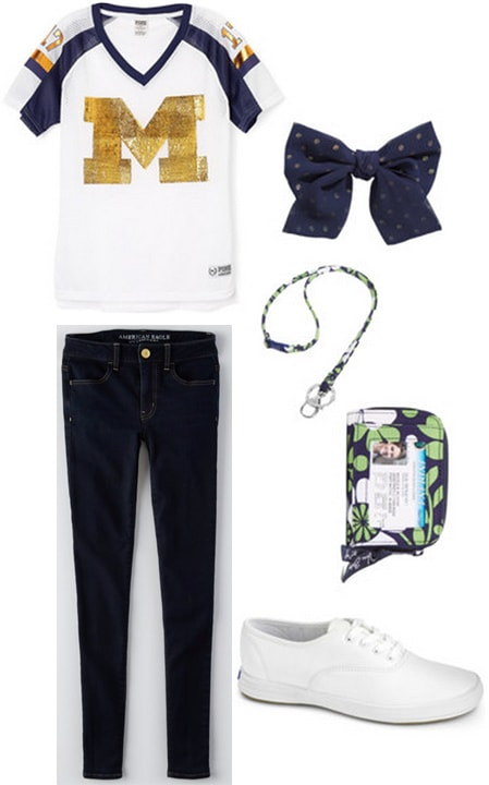 Gameday outfit 2 - skinny jeans, jersey, wristlet