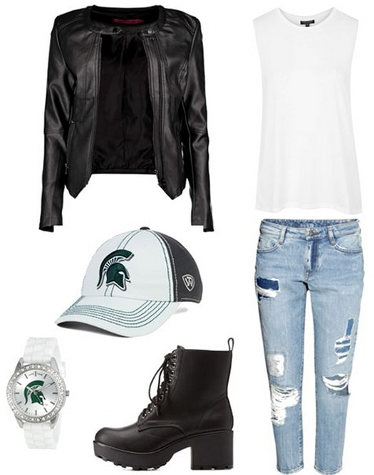 Game day outfit 3 - ripped jeans, leather jacket, tank, team hat