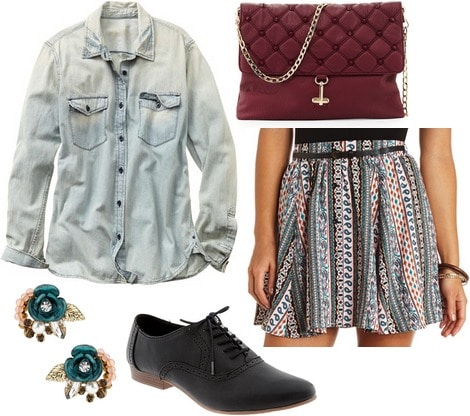 Gap denim shirt, printed skirt, oxfords