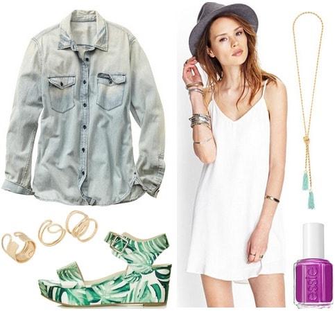 Gap denim shirt, white dress, printed sandals
