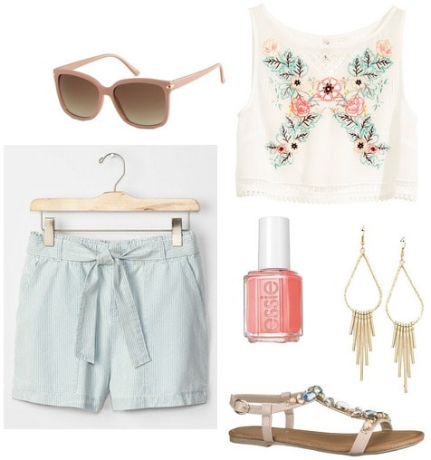 gap shorts, embroidered blouse, sandals