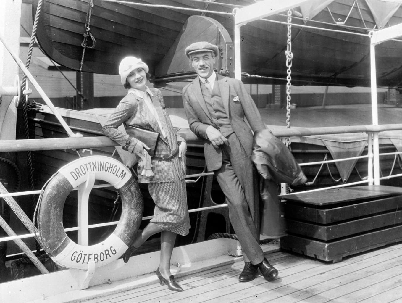 Greta Garbo and Mauritz Stiller on their way to the United States in 1925.