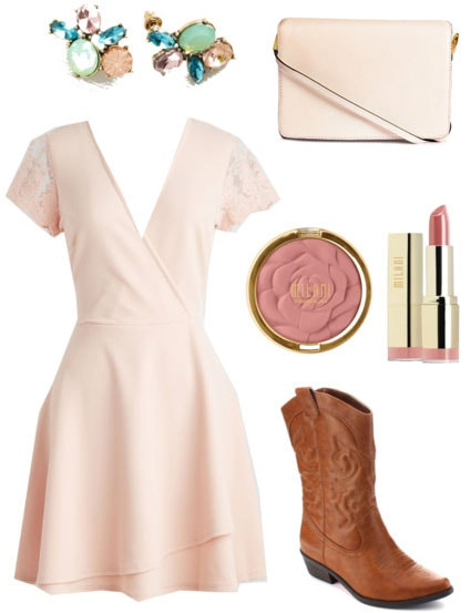 Fashion inspired by Garden Spells: Wrap dress, blush purse, cowboy boots, statement earrings