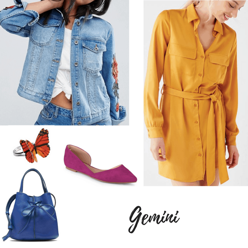 gemini outfit embroidered denim jacket yellow shirtdress butterfly ring hot pink flats bow bag