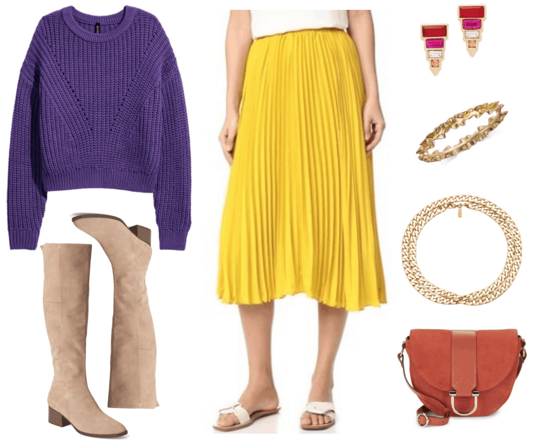 Ultra Violet rib-knit sweater with hole-knit details at front and drop shoulders, beige suede knee-high almond-toe boots with low block heel that has a stacked wooden finish, bright yellow pleated midi skirt, gold stud earrings with graduated baguette-shaped red, bright pink, and pale pink stones with orange square shaped stone at bottom and gold triangle beneath it; gold ruffled-look bangle, thick gold chain necklace wrapped to create two layers, dark orange suede saddle bag with dark orange leather accent and pale gold metal hardware and pale gold D-ring at closure