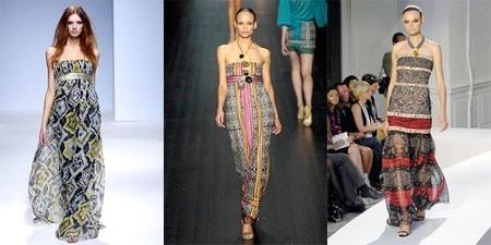 Geometric print long dresses by Derercuny, Missoni, and Oscar De La Renta on the Spring 2008 Ready To Wear runways