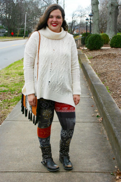 College student style at the University of Georgia - fair isle leggings, knit sweater, fringe bag