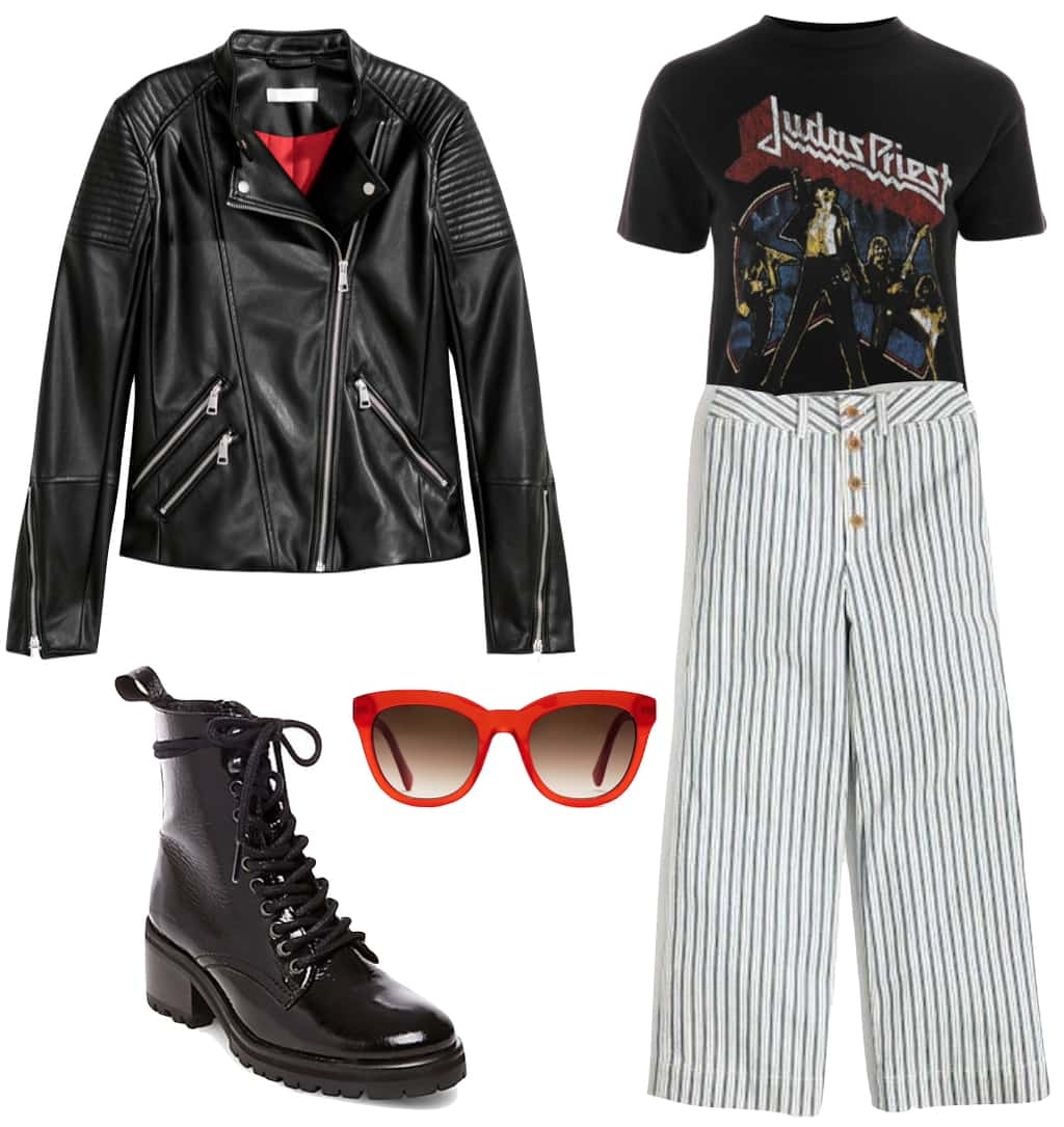 Georgia May Jagger Outfit: black faux leather biker jacket, black band t-shirt, striped wide leg pants, thick red sunglasses, and black lace-up combat boots