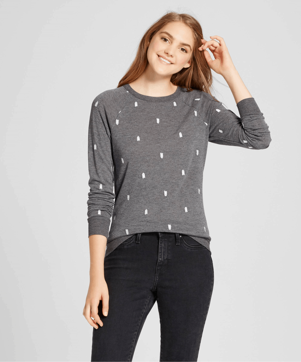 Ghost printed sweater in gray from Target