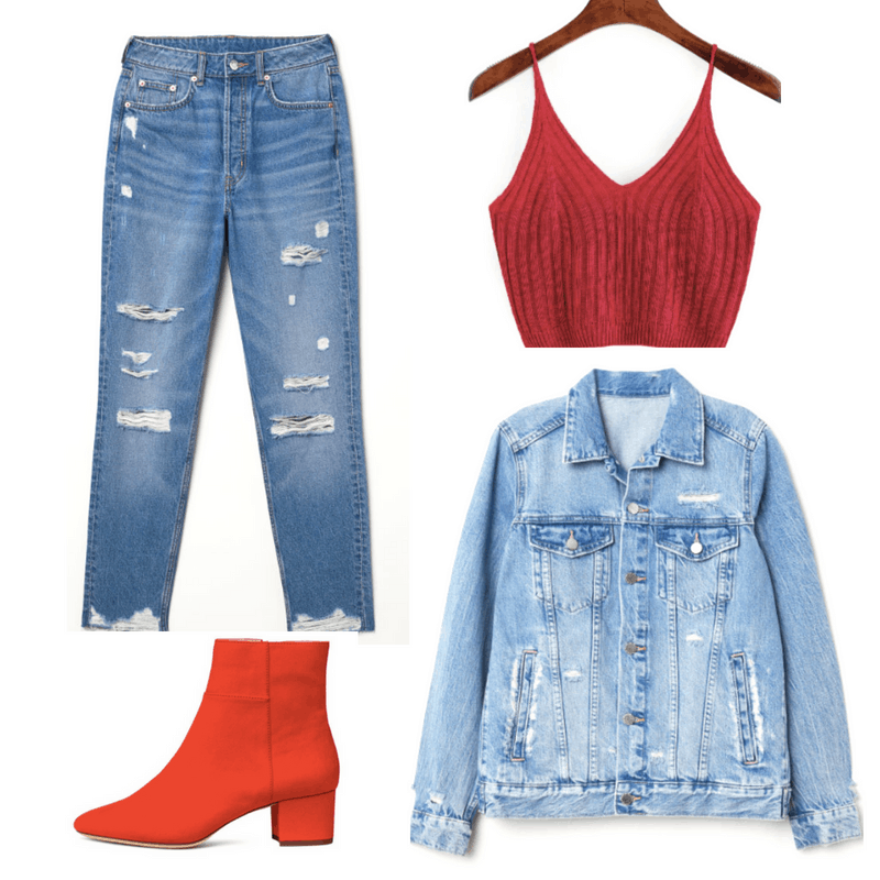 Ripped jeans, knit red top, jean jacket, bright red short boots.
