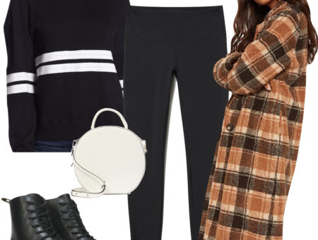 Gigi Hadid Outfit: black and white striped crew neck top, black leggings, brown flat top sunglasses, white top-handle handbag, long brown plaid coat, and black combat boots