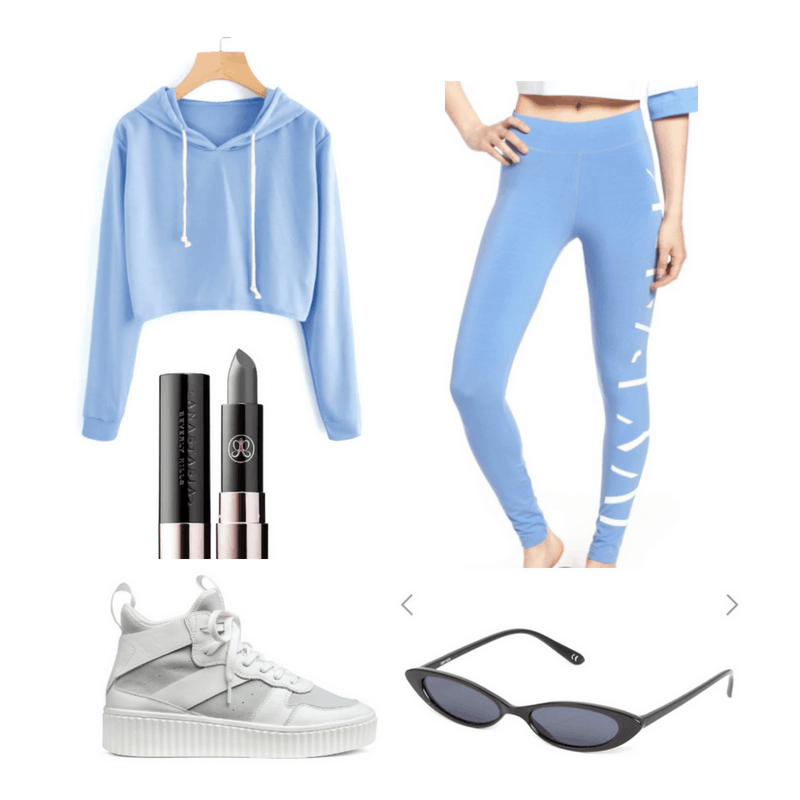 Blue leggings and hoodie, gray lipstick, sunglasses and white high tops.