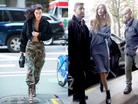Bella Hadid in camo pants and Gigi Hadid in an off-the-shoulder sweater dress