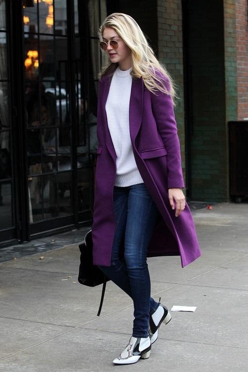 Gigi Hadid in a purple coat
