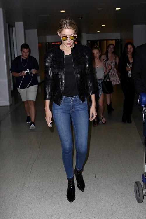 Gigi Hadid fringe leather jacket