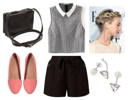 gingham blouse, black shorts, pink flats