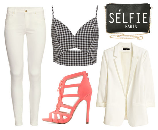 White pants, gingham crop, and white blazer