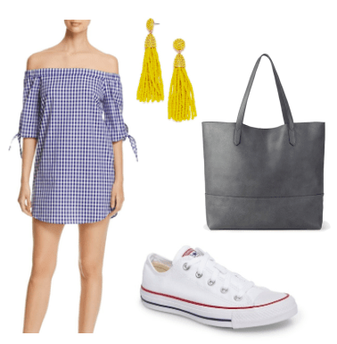 How to style a gingham off the shoulder dress for class: Navy and white gingham dress paired with a black oversized tote bag, yellow beaded tassel earrings, white Converse sneakers