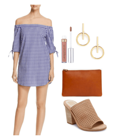 How to style a gingham off the shoulder dress for night: Outfit idea with navy and white gingham dress, medium brown zipper clutch, nude lipstick, gold circle earrings, tan laser cut mules