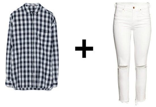 Gingham Shirt and White Pants