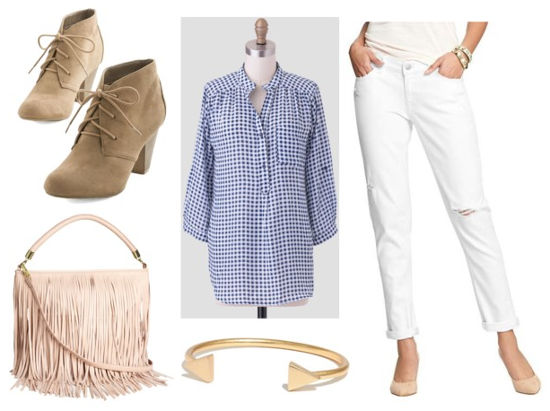 Gingham shirt and white jeans