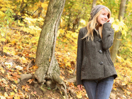 Girl dressed for fall weather