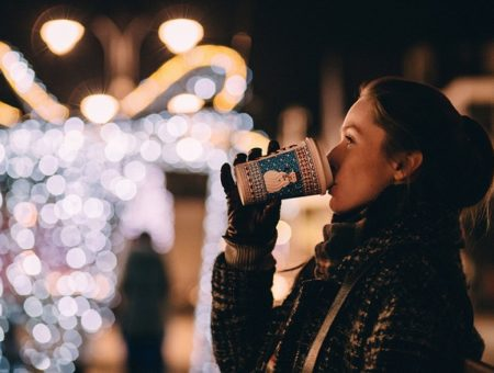 Girl Drinking Hot Cocoa Outside