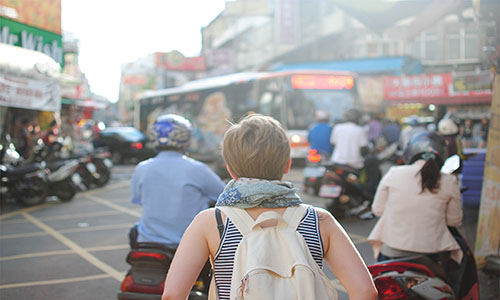 Girl exploring city