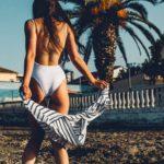Girl wearing a bathing suit