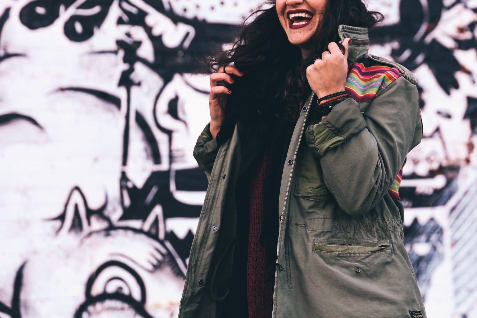 Girl in winter wearing a parka