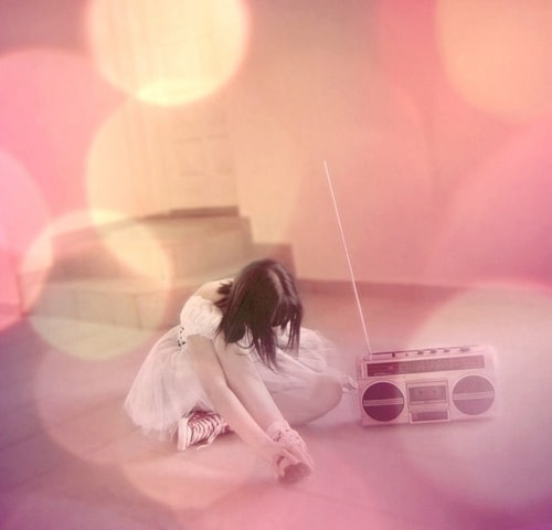 Girl listening to the radio