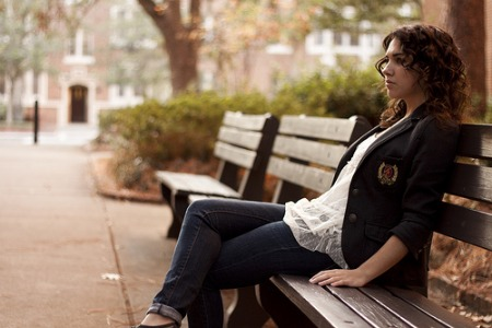 college girl on bench